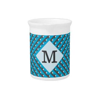 Monogram Blue Grid Customizable Drink Pitcher