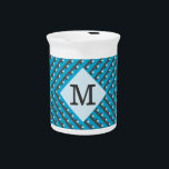 """Monogram Blue Grid Customizable Pitcher<br><div class=""""desc"""">A blue and grey Monogram design. The patten is made up of angled, woven lines which form a grid. In the center is a diamond shape with which is outlined in black. Within this is a customizable monogram, initial, which you can change to any letter or number to suit your...</div>"""