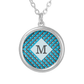 Monogram Blue Grid Customizable Silver Plated Necklace