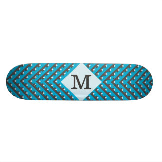 Monogram Blue Grid Customizable Custom Skate Board