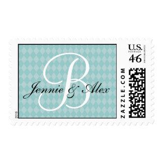 Monogram Blue Harlequin Pattern Postage Stamps