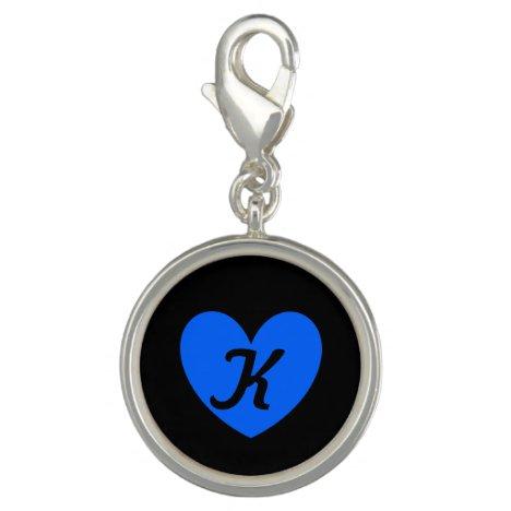 Monogram Blue heart on black Charm