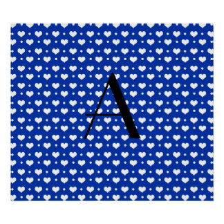 Monogram blue hearts and polka dots poster