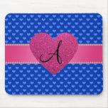 Monogram blue hearts mousepads