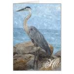 Monogram Blue Heron Thank You Note Card