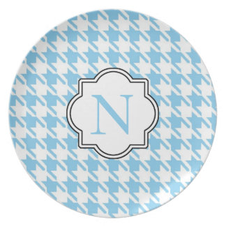 Monogram Blue Houndstooth Plate