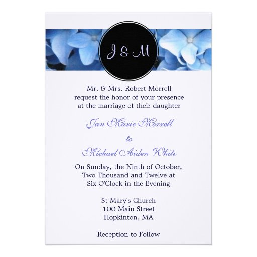 Monogram Blue Hydrangea Wedding Invitation