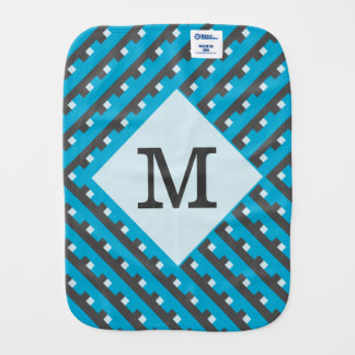 Monogram Blue Intersecting Lines Burp Cloths