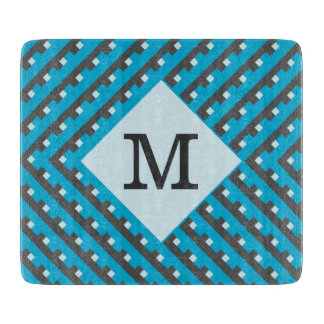 Monogram Blue Intersecting Lines Cutting Board