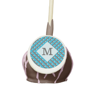 Monogram Blue intersecting lines grid Cake Pops