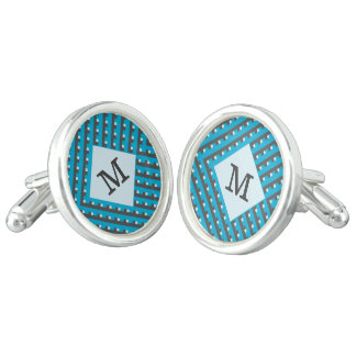 Monogram Blue intersecting lines grid Cufflinks