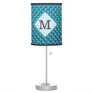 Monogram Blue intersecting lines grid Desk Lamp