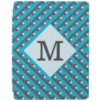 Monogram Blue intersecting lines grid iPad Cover