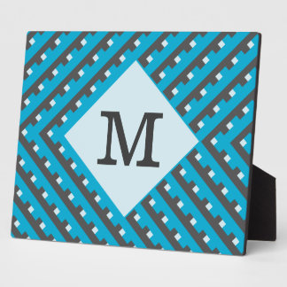 Monogram Blue intersecting lines grid Plaque