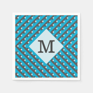 Monogram Blue intersecting lines grid Standard Cocktail Napkin