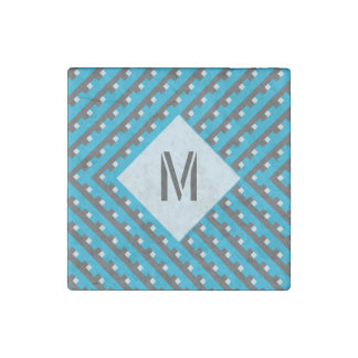 Monogram Blue intersecting lines grid Stone Magnet
