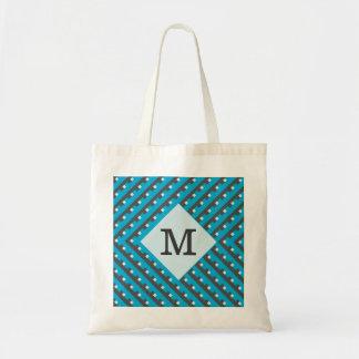 Monogram Blue intersecting lines grid Tote Bag