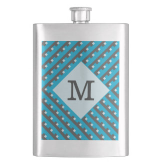 Monogram Blue Intersecting Lines Hip Flask
