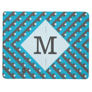 Monogram Blue Intersecting Lines Journal