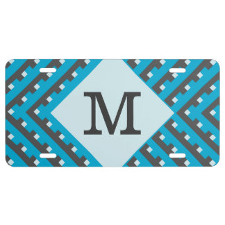 Monogram Blue Intersecting Lines License Plate