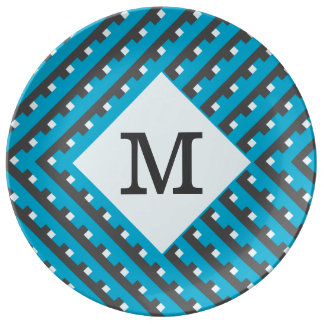 Monogram Blue Intersecting Lines Plate