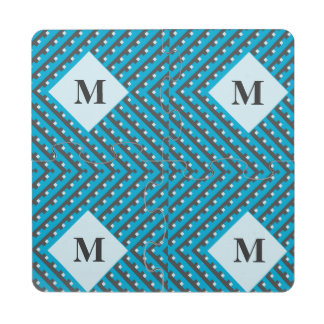 Monogram Blue Intersecting Lines Puzzle Coaster