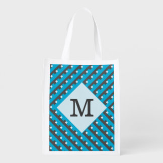 Monogram Blue Intersecting Lines Reusable Grocery Bag