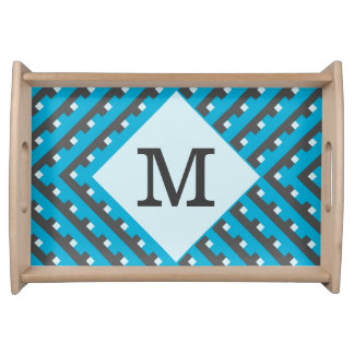 Monogram Blue Intersecting Lines Service Trays