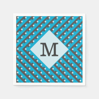 Monogram Blue Intersecting Lines Standard Cocktail Napkin