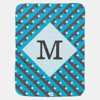 Monogram Blue Intersecting Lines Swaddle Blankets
