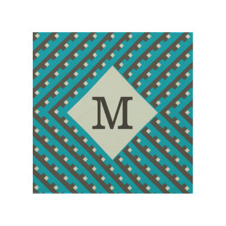 Monogram Blue Intersecting Lines Wood Wall Art