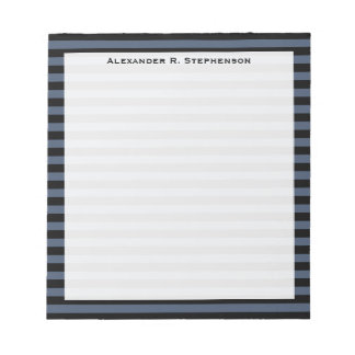 Monogram Blue Jeans Blue and Black Stripe Notepad