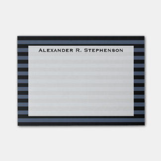 Monogram Blue Jeans Blue and Black Stripe Post-it Notes
