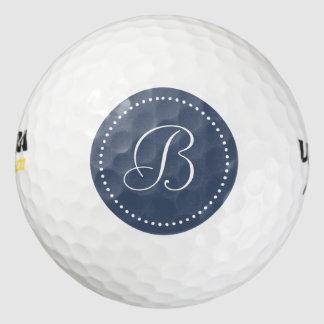 Monogram Blue Jeans Blue with Dots Golf Balls