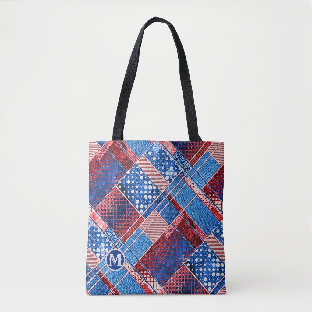 Monogram Blue Jeans Patchwork Pattern Tote Bag