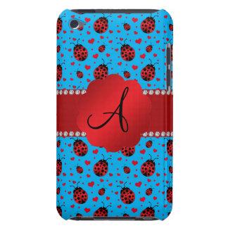 Monogram blue ladybugs hearts pattern Case-Mate iPod touch case