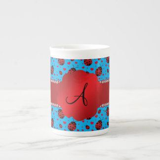 Monogram blue ladybugs hearts pattern bone china mugs