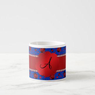 Monogram blue ladybugs hearts espresso mug