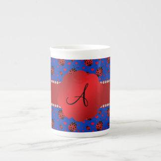 Monogram blue ladybugs hearts porcelain mugs