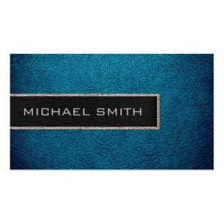 Monogram Blue Leather Look Business Card