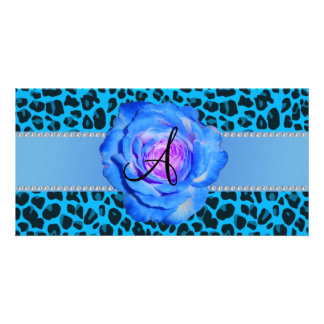 Monogram blue leopard blue rose photo card