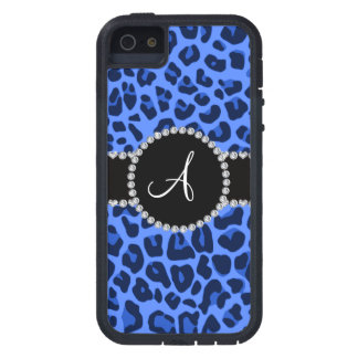 Monogram blue leopard circle iPhone 5/5S case