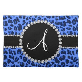 Monogram blue leopard circle placemat