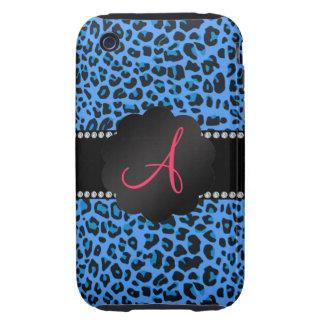 Monogram blue leopard pattern tough iPhone 3 case