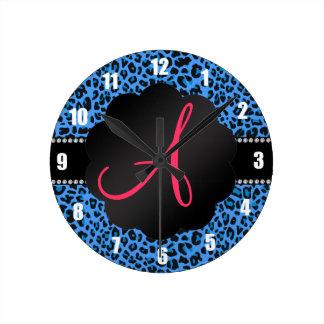Monogram blue leopard pattern wallclock