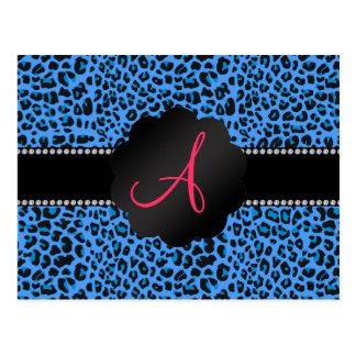 Monogram blue leopard pattern post card