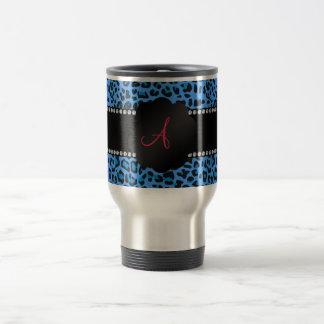 Monogram blue leopard pattern travel mug