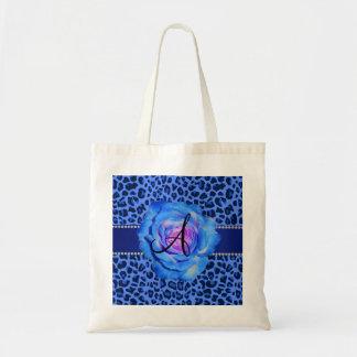 Monogram blue leopard print blue rose bag