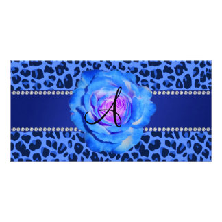 Monogram blue leopard print blue rose photo card