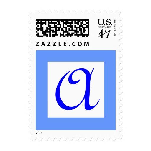 Monogram Blue Letter A  Stamp